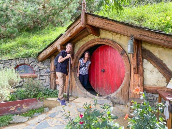 Simon and Erin at Hobbiton in New Zealand