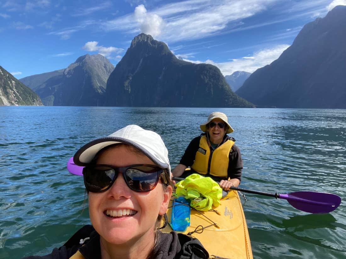 Simon and Erin Kayaking at Milford Sound