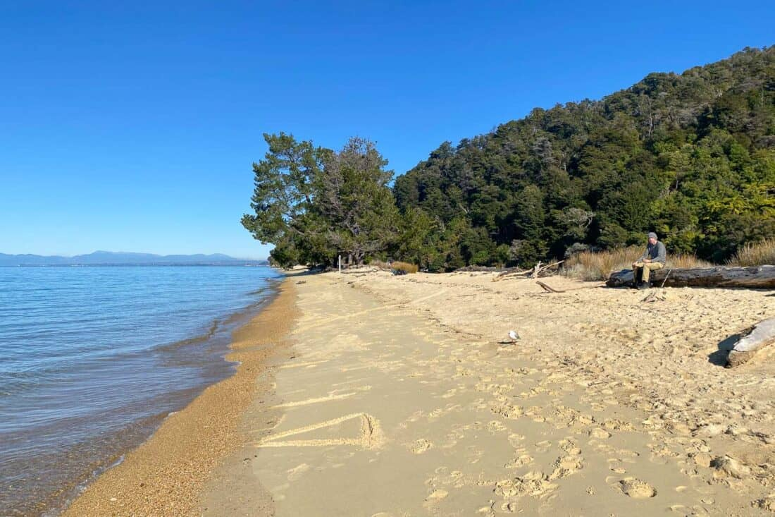 Apple Tree Bay beach on the Marahau to Anchorage section of the Abel Tasman Track