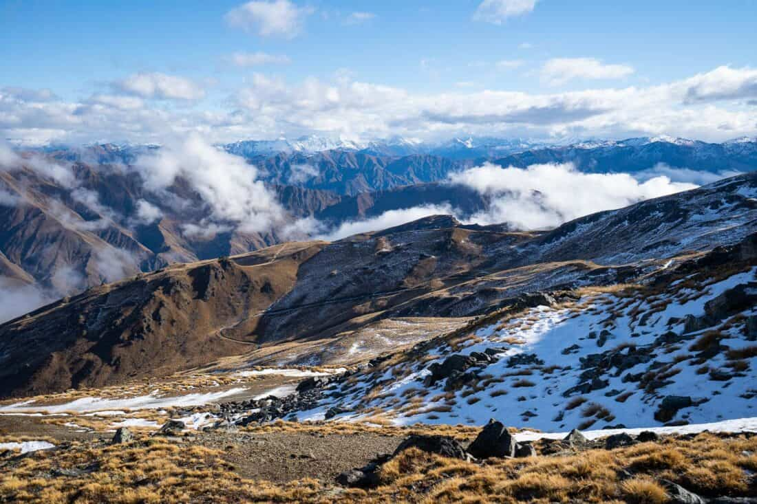 View from top of Cardrona ski resort gondola in early winter