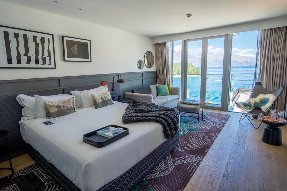 Lake view room at QT Queenstown Hotel