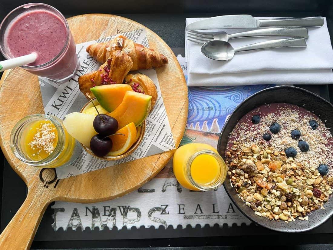 Room service breakfast at QT Queenstown hotel