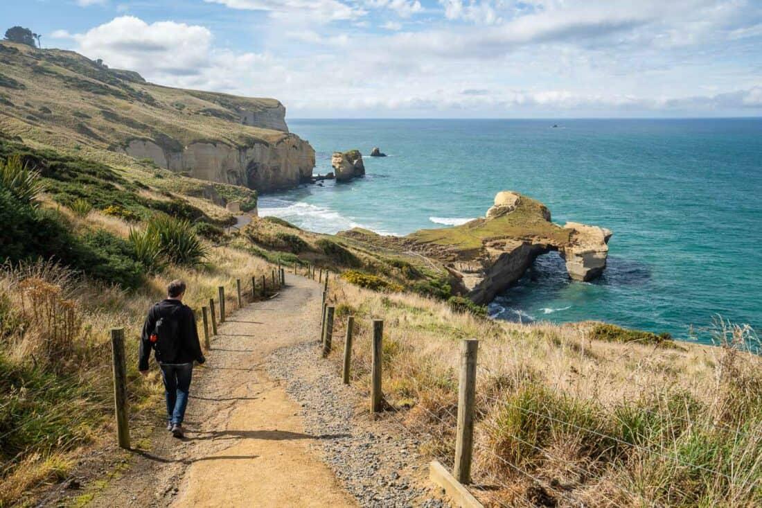 The path down to Tunnel Beach near Dunedin, New Zealand