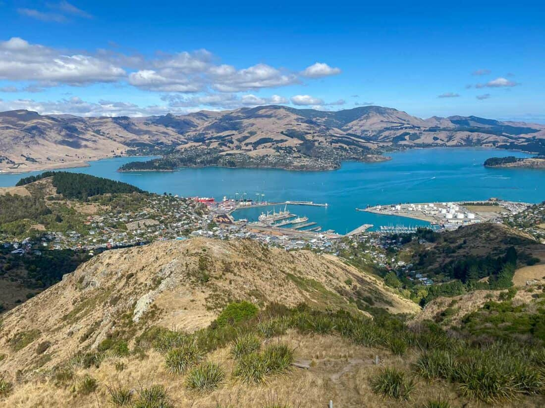 Lyttelton and Banks Peninsula view from the Christchurch Gondola on the East Coast South Island