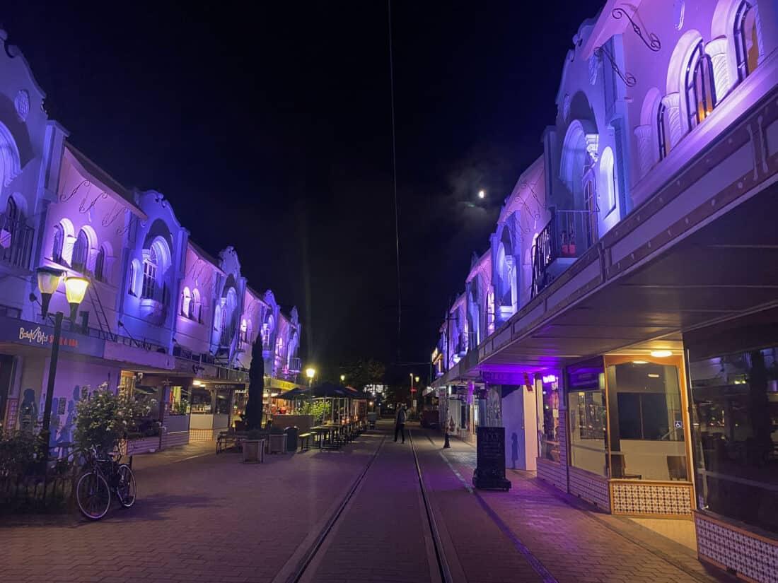 New Regent Street in Christchurch lit up at night