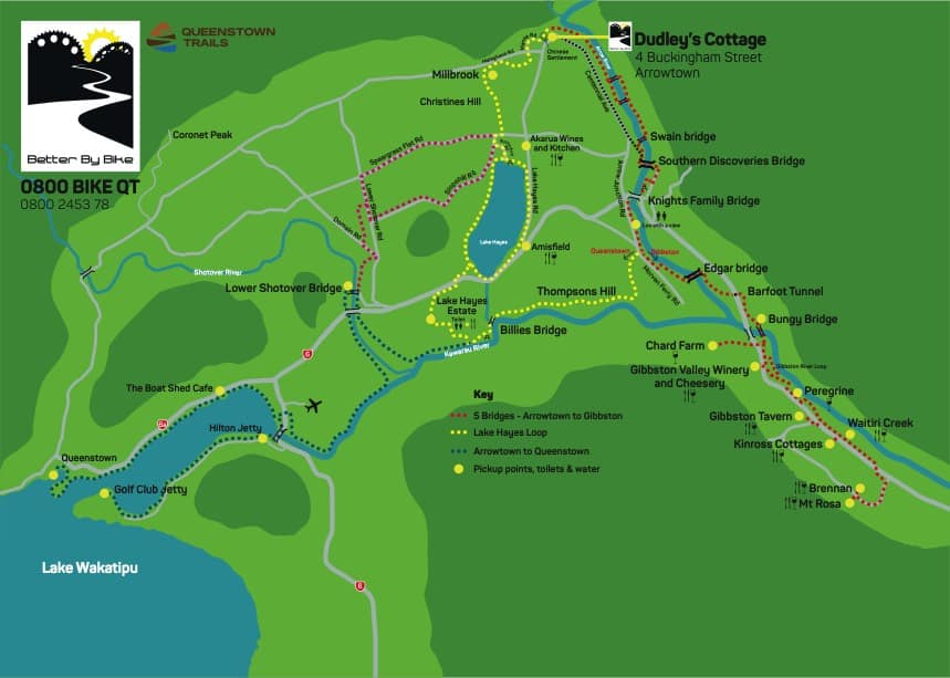 Gibbston Valley wineries map including bike trail from Arrowtown