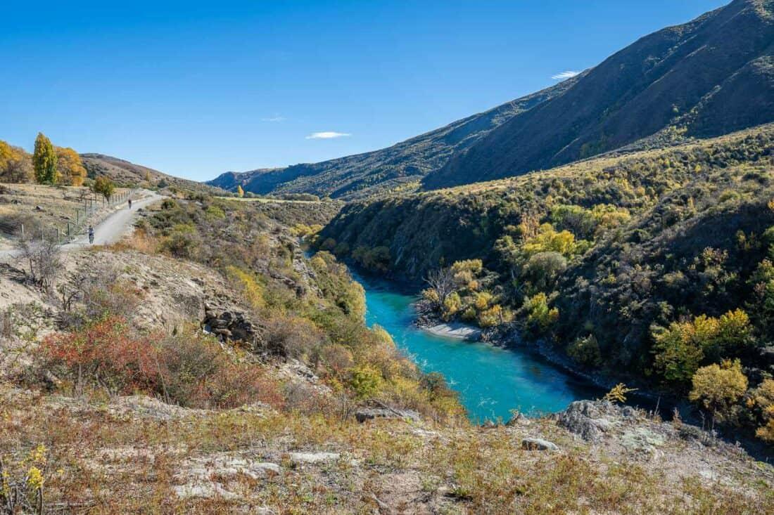 The Gibbston valley wine trail in autumn