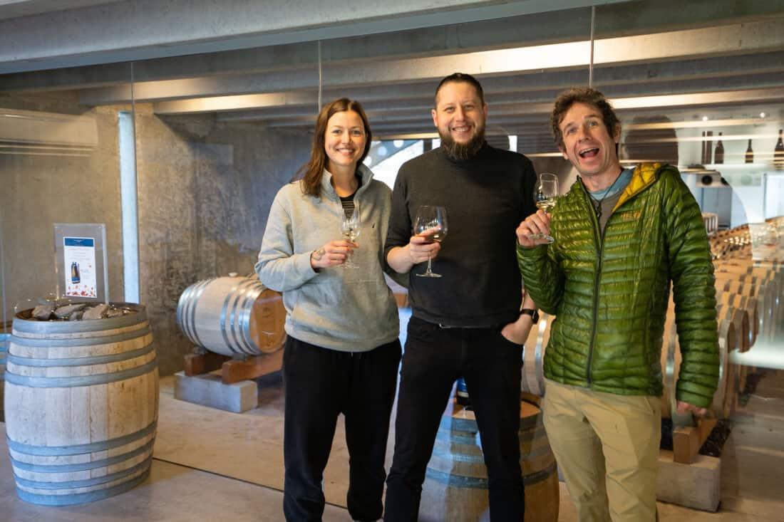 Tasting Peregrine wines with friends at their cellar door overlooking their wine barrels