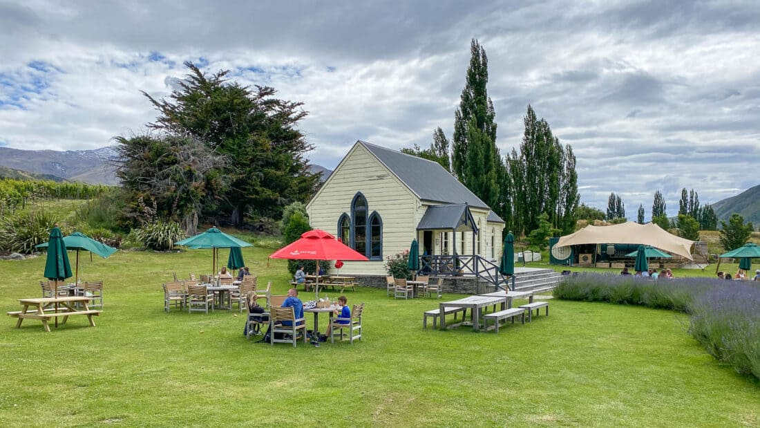 Cargo Brewery beer garden in the Gibbston Valley