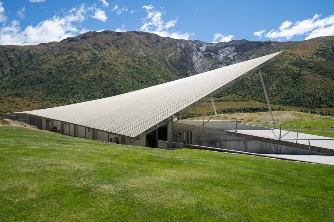 The Peregrine cellar door shaped like a falcon in the Gibbston Valley, New Zealand
