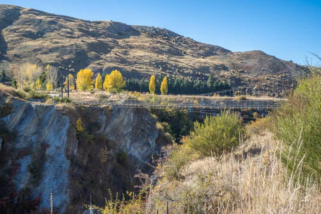The Edgar suspension bridge in autumn on the Arrow River Bridges Trail