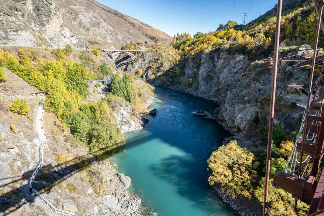 The Kawarau Suspension Bridge for bungy jumping in autumn