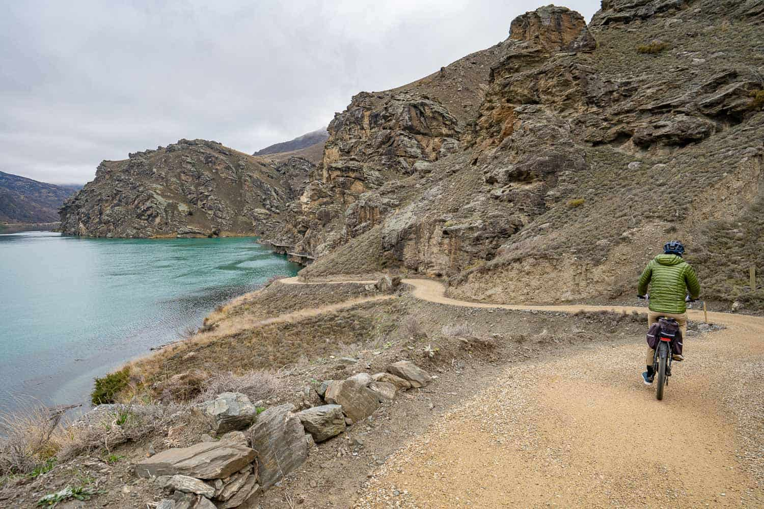 Cycling through Cromwell Gorge on the Lake Dunstan Cycle Trail in Central Otago, New Zealand