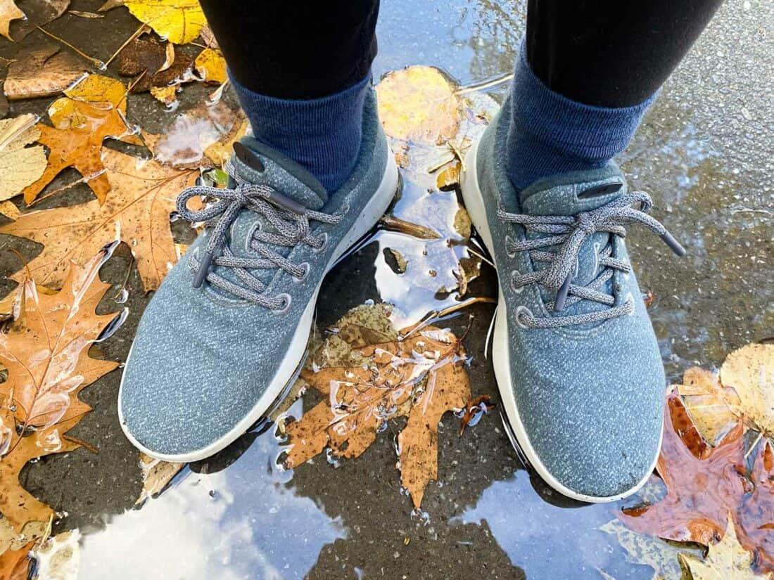 Wearing my Allbirds Wool Runner Mizzles in the rain