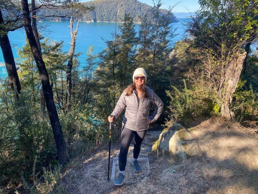 Hiking in Abel Tasman National Park in my Allbirds Wool Runner Mizzles