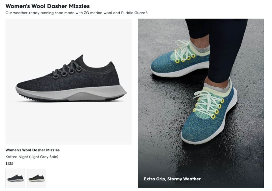 Allbirds wool dasher mizzles page from website