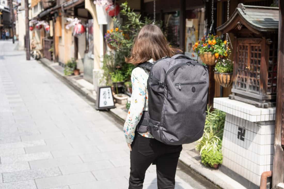 Tortuga Setout 45L backpack worn by a woman