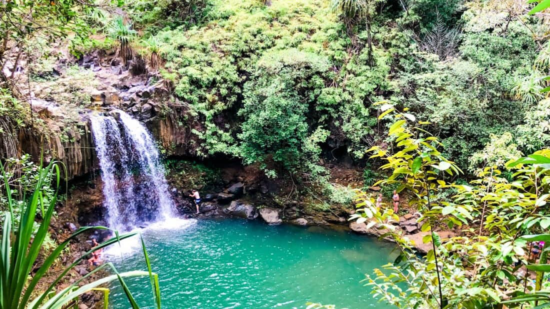 Jumping into the pools at Twin Falls, one of the best things to do in Maui