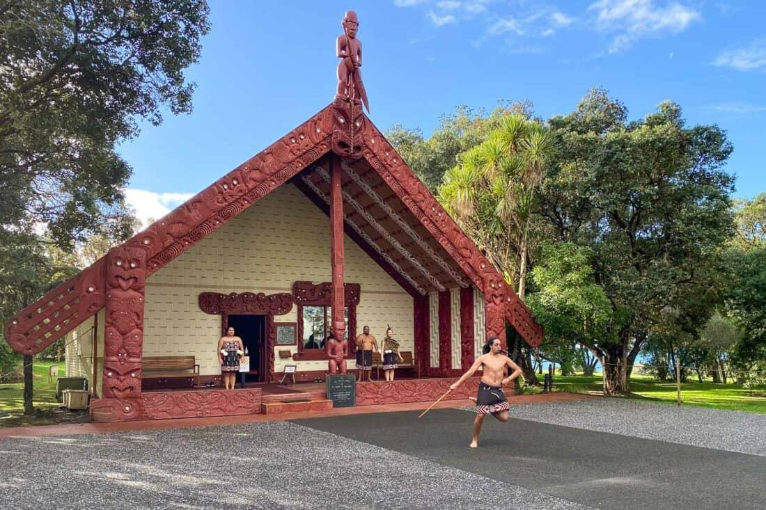 Cultural performance in the Te Whare Rūnanga (Carved Meeting House) at Waitangi Treaty Grounds, Paihia