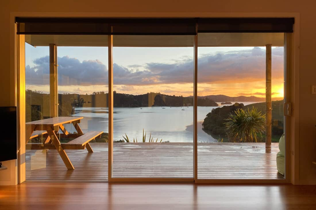 Sunset view from our Russell holiday house in Bay of Islands