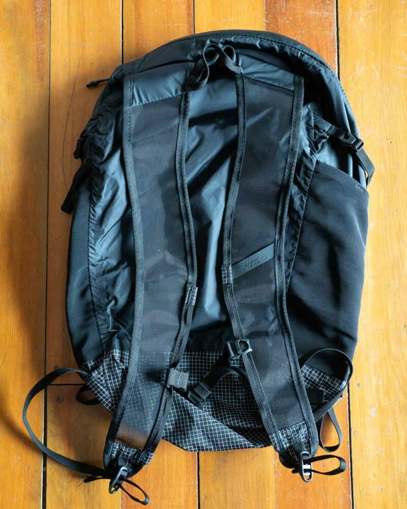 The back and shoulder straps of the Matador Freefly16 packable backpack for hiking and other outdoor activities