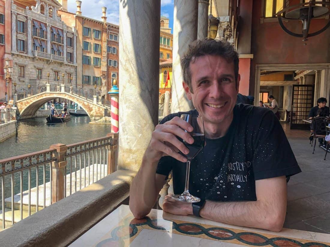 Drinking wine at Ristorante di Canaletto overlooking the Venice canals at Tokyo Disneysea