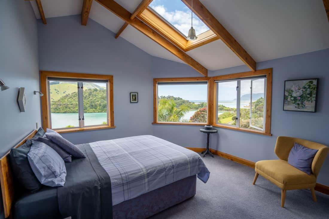 The upstairs bedroom at Kikorangi Retreat in Delaware Bay near Nelson, NZ