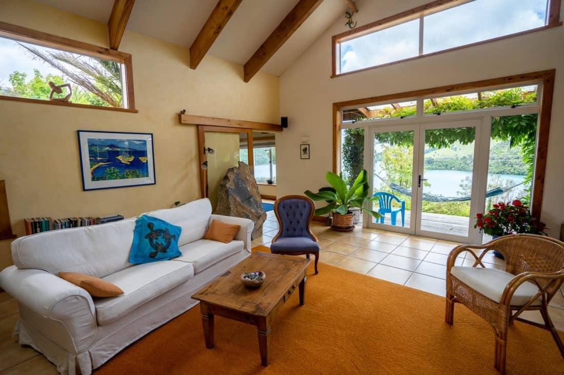 The living room at Kikorangi Retreat in Delaware Bay near Nelson, NZ