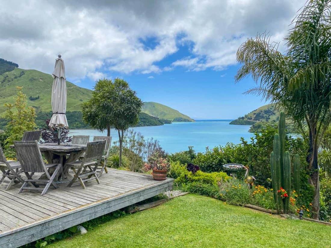 The terrace at Kikorangi Retreat in Delaware Bay near Nelson, NZ