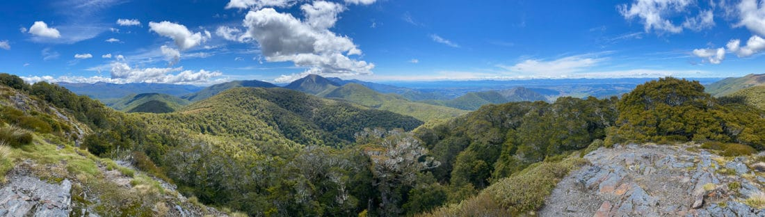 The view from just above Mt Arthur Hut in Kahurangi National Park near Nelson, New Zealand