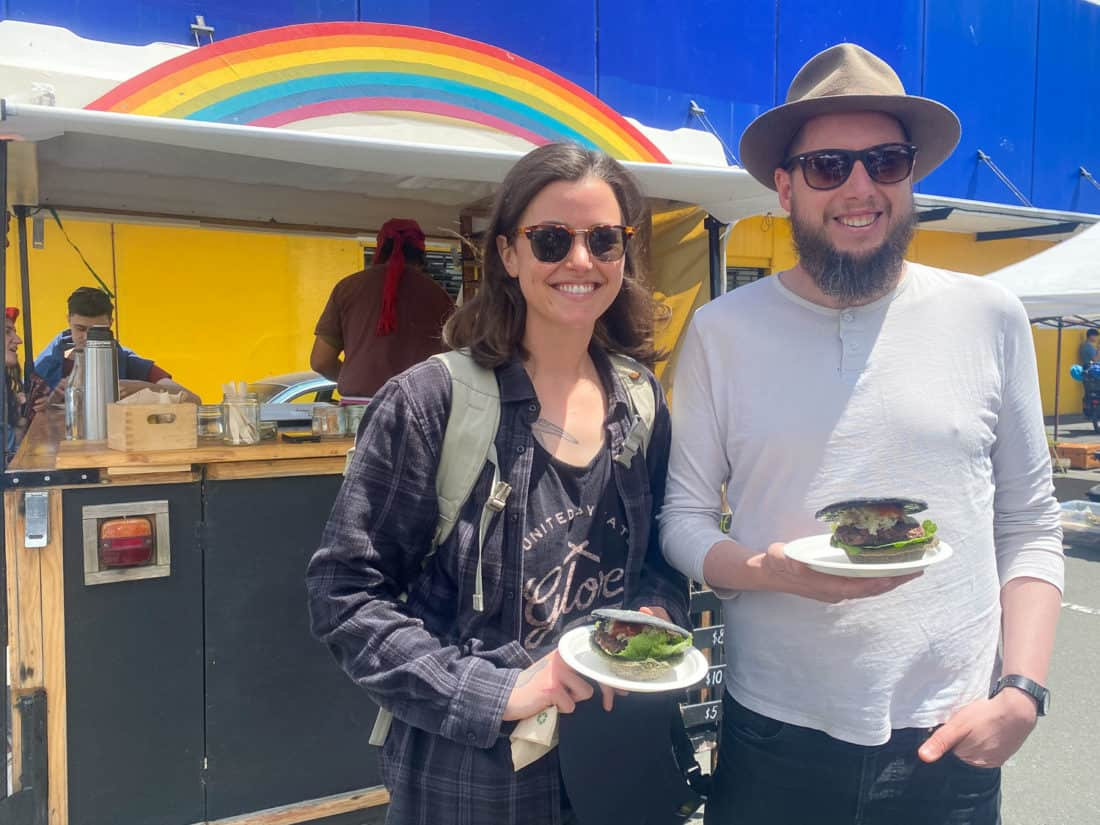 Vegan Burger Pie from Rainbow Kitchen stall at Nelson Market, a Nelson must do activity