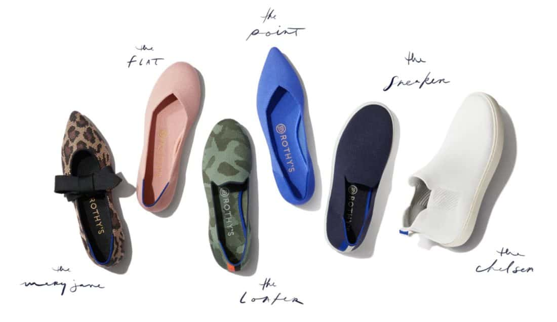 The six Rothy's styles - flat, point, loafer, sneaker, chelsea and mary jane