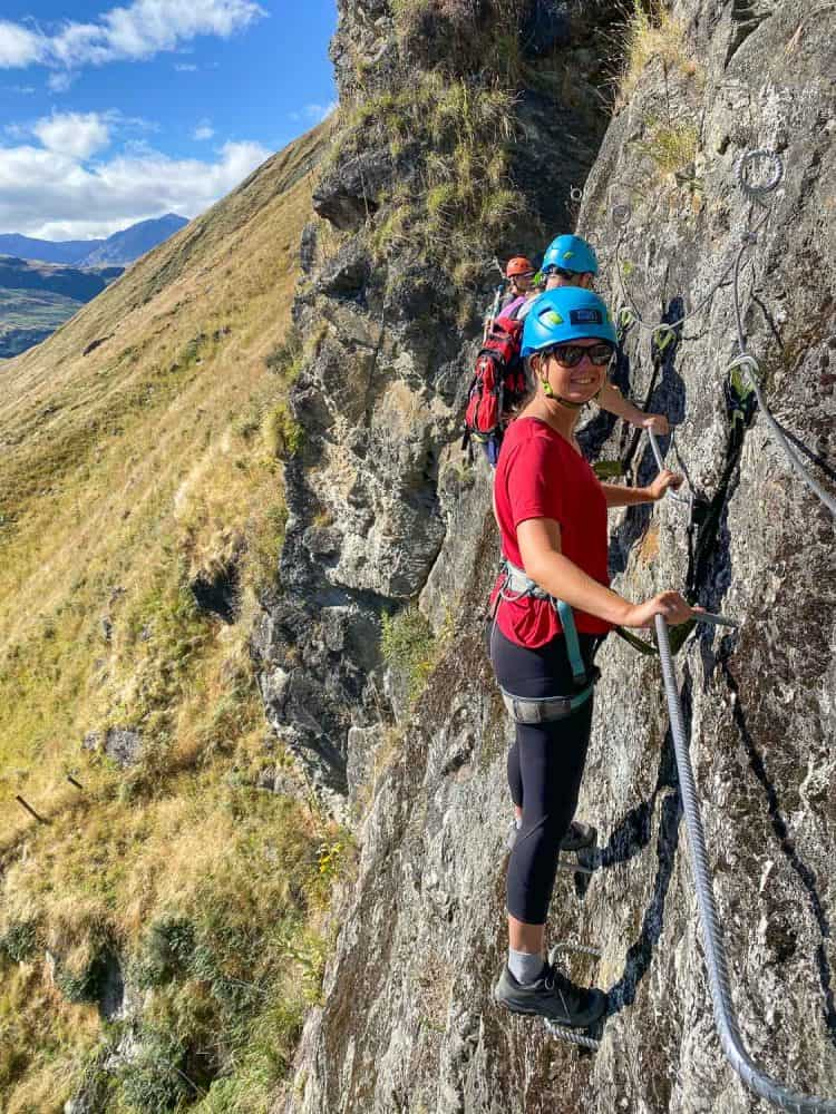 Erin on Level 1 of the Wildwire Via Ferrata in Wanaka
