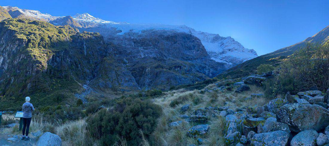 Erin and kea at the upper lookout of the Rob Roy Glacier Track in Mt Aspiring National Park