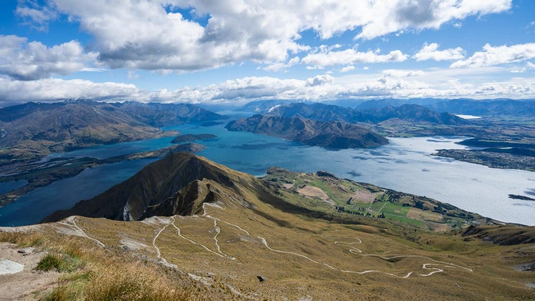The view from the summit of Roy's Peak looking down to Wanaka