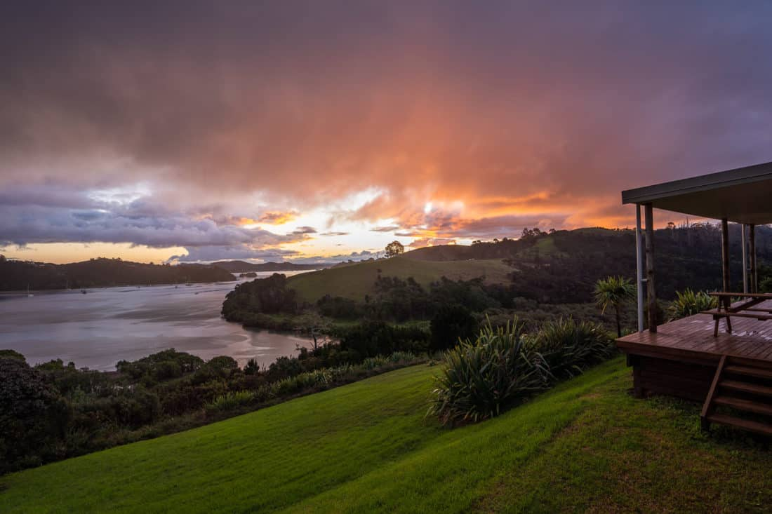 Sunset over Uruti Bay from our house in the Bay of Islands