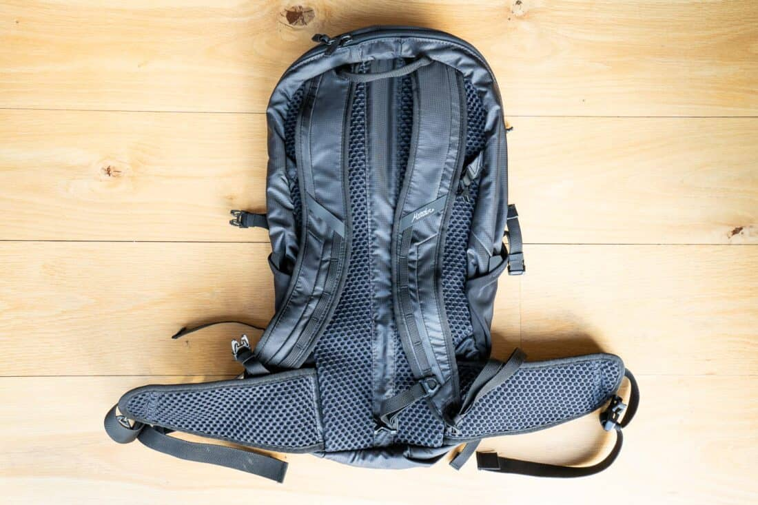 Padded back, straps and hip belt of the Matador Beast18 Ultralight Technical Backpack