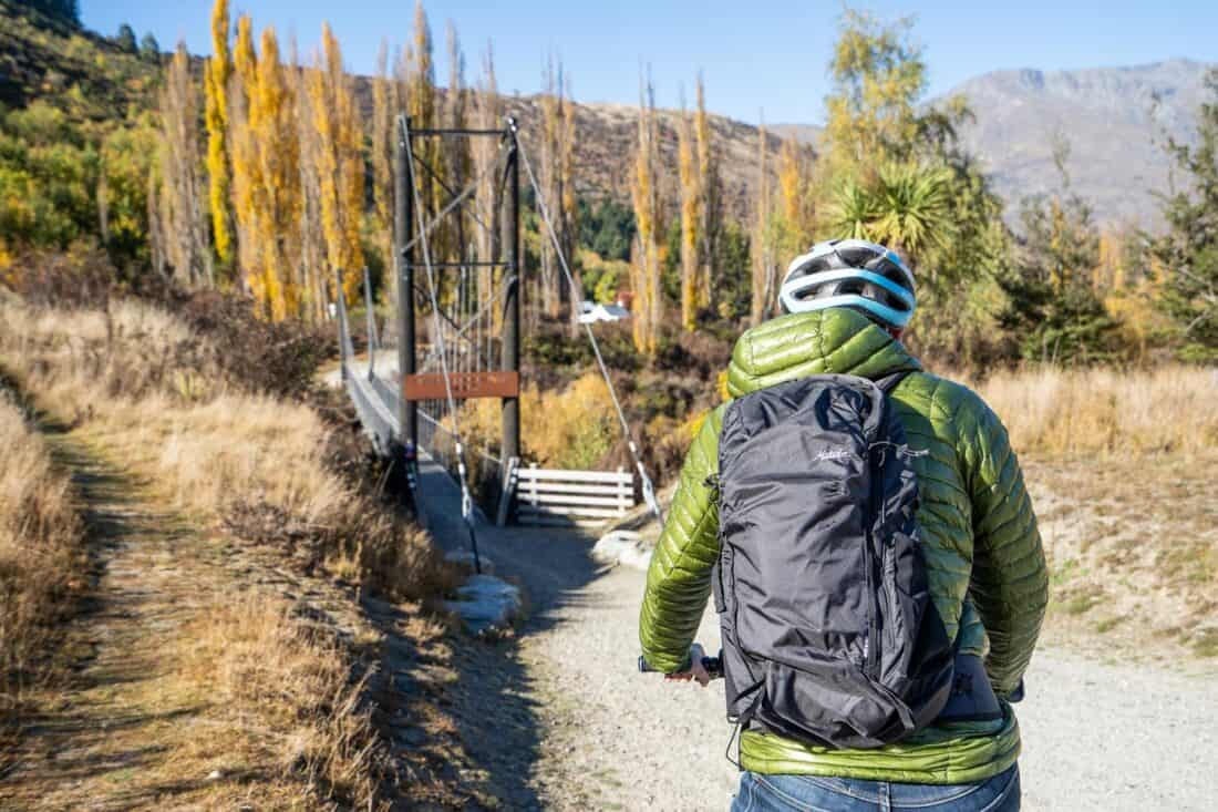 Cycling with the Matador Beast18 Ultralight Technical Backpack which is waterproof and packable