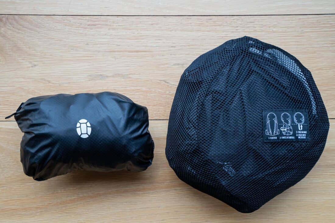 Matador Beast18 Ultralight Technical Backpack packed down into its pocket compared to the Tortuga Setout Daypack