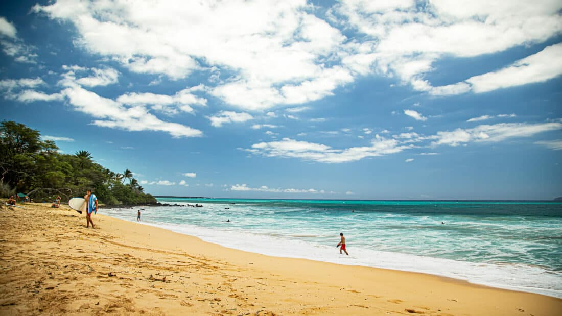 Golden sands of Big Beach, one of the top Maui attractions