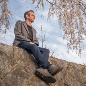 Bluffworks departure jeans worn by Simon in Kyoto cherry blossoms